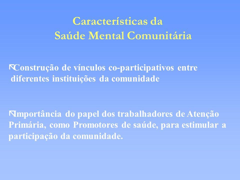 Características da Saúde Mental Comunitária ãConstrução de vínculos co-participativos entre diferentes instituições da comunidade ãImportância do pape