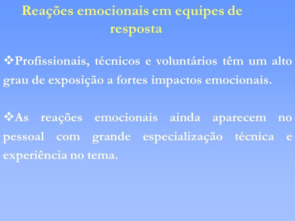 vProfissionais, técnicos e voluntários têm um alto grau de exposição a fortes impactos emocionais. vAs reações emocionais ainda aparecem no pessoal co