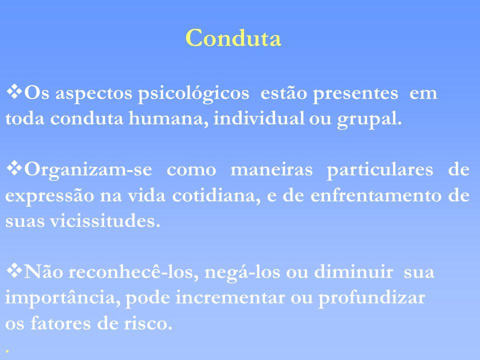 Conduta vOs aspectos psicológicos estão presentes em toda conduta humana, individual ou grupal. vOrganizam-se como maneiras particulares de expressão