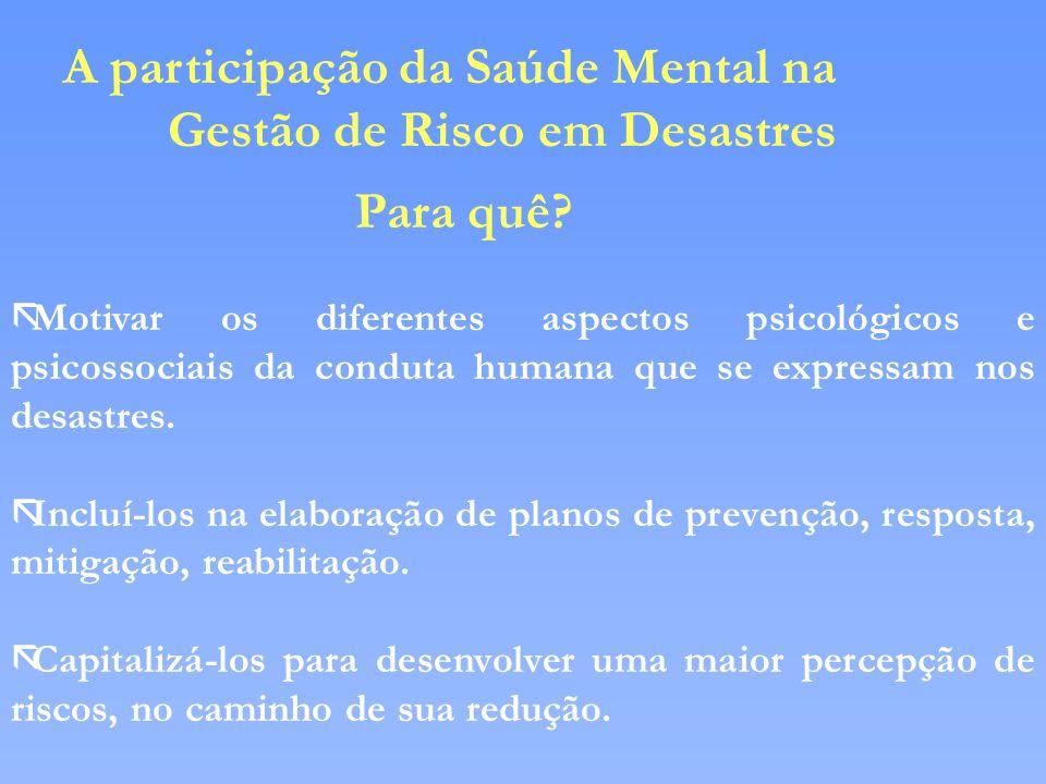 A participação da Saúde Mental na Gestão de Risco em Desastres Para quê? ãMotivar os diferentes aspectos psicológicos e psicossociais da conduta human