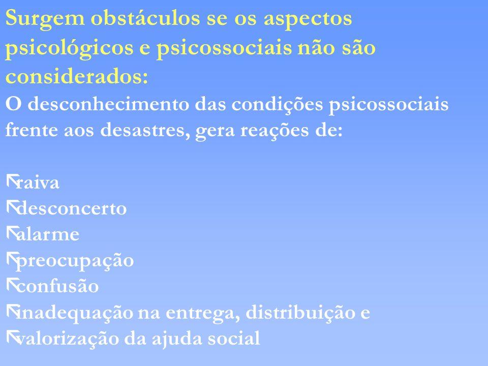 Surgem obstáculos se os aspectos psicológicos e psicossociais não são considerados: O desconhecimento das condições psicossociais frente aos desastres