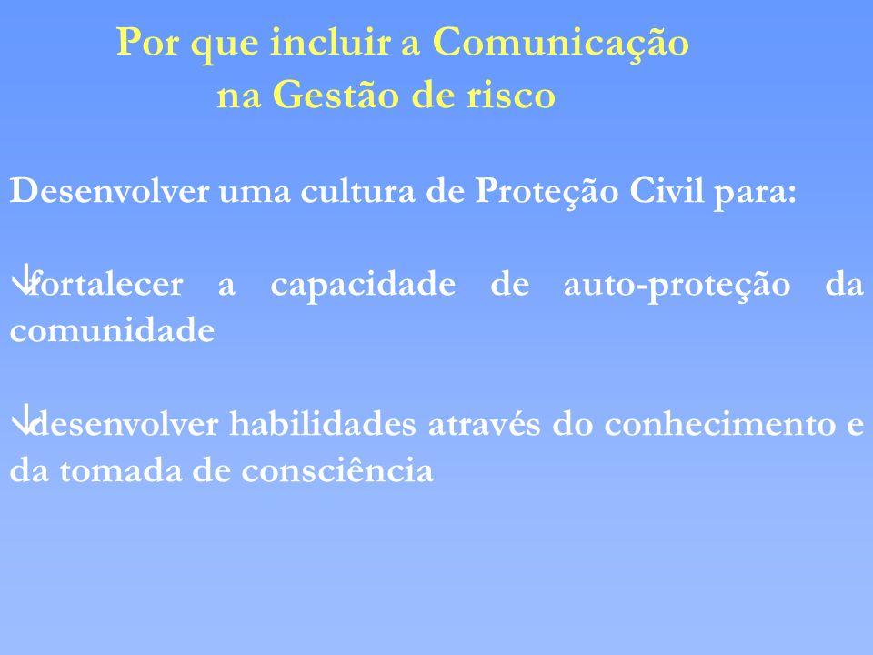 Por que incluir a Comunicação na Gestão de risco Desenvolver uma cultura de Proteção Civil para: âfortalecer a capacidade de auto-proteção da comunida
