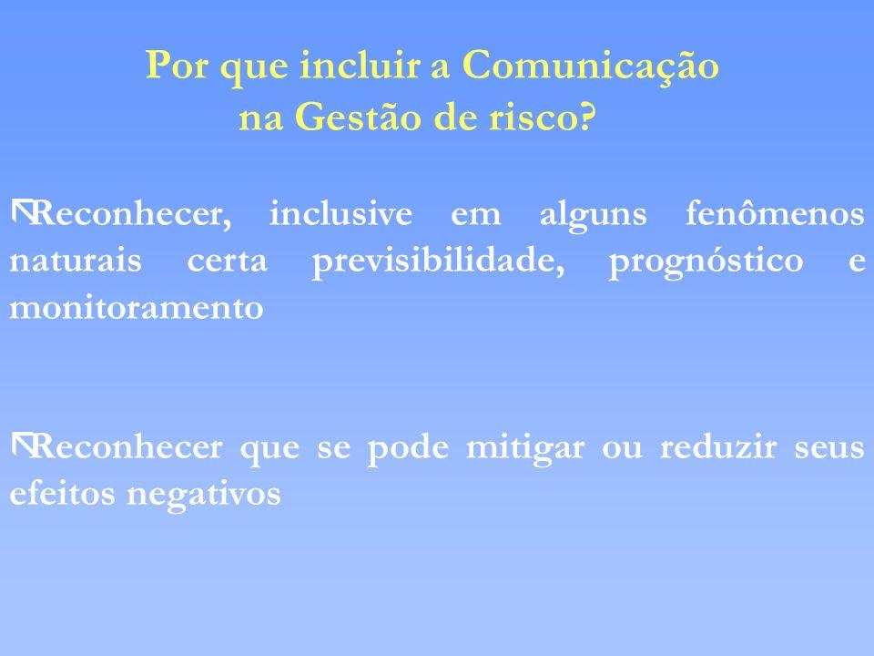 Por que incluir a Comunicação na Gestão de risco? ãReconhecer, inclusive em alguns fenômenos naturais certa previsibilidade, prognóstico e monitoramen