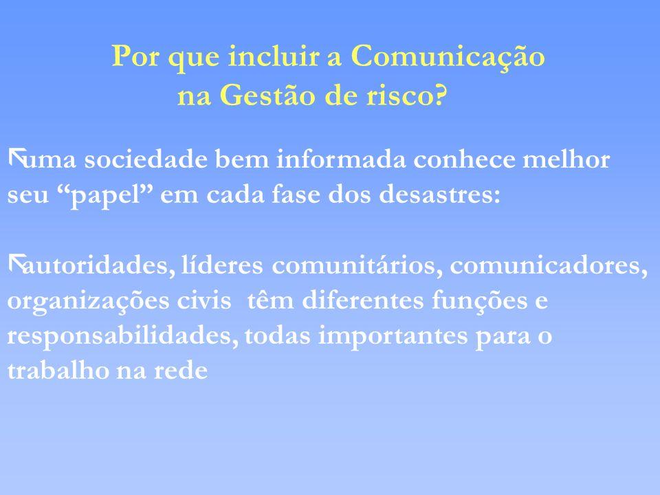 Por que incluir a Comunicação na Gestão de risco? ãuma sociedade bem informada conhece melhor seu papel em cada fase dos desastres: ãautoridades, líde