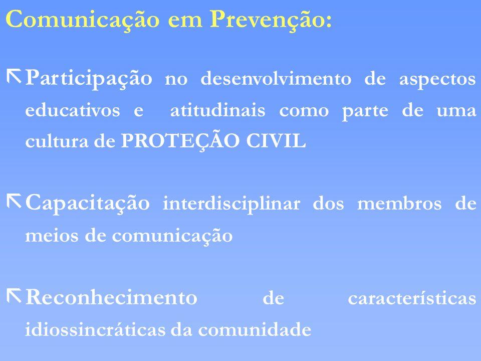 Comunicação em Prevenção: ãParticipação no desenvolvimento de aspectos educativos e atitudinais como parte de uma cultura de PROTEÇÃO CIVIL ãCapacitaç