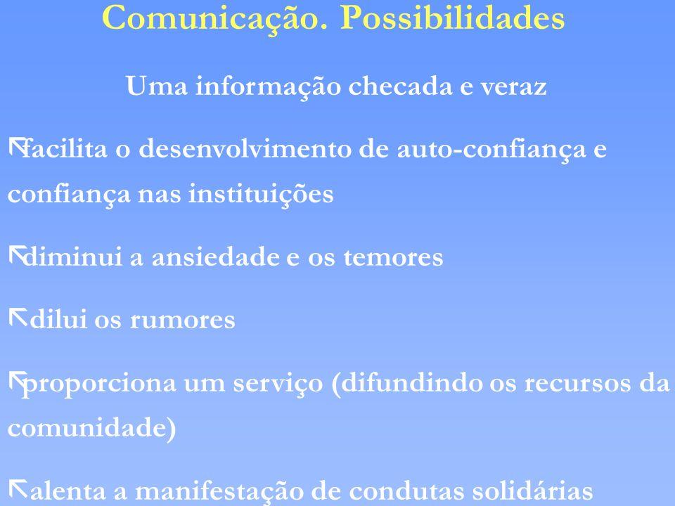 Comunicação. Possibilidades Uma informação checada e veraz ãfacilita o desenvolvimento de auto-confiança e confiança nas instituições ãdiminui a ansie