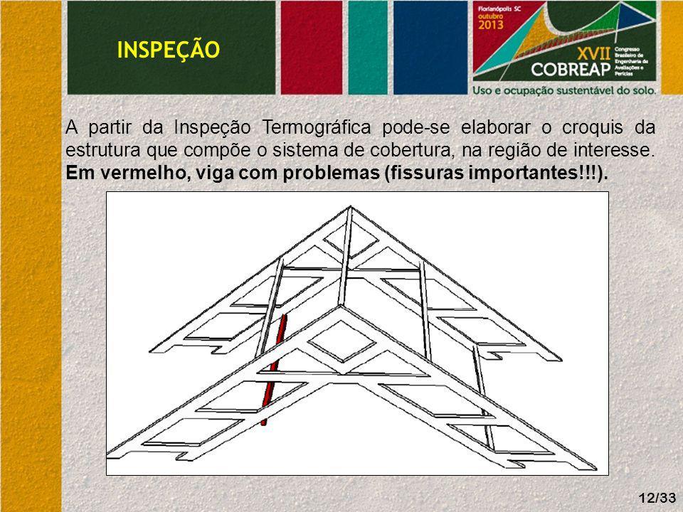 INSPEÇÃO A partir da Inspeção Termográfica pode-se elaborar o croquis da estrutura que compõe o sistema de cobertura, na região de interesse. Em verme