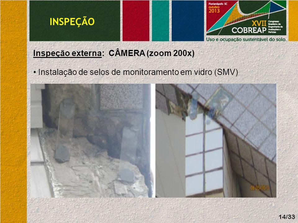 INSPEÇÃO Inspeção externa: CÂMERA (zoom 200 x) Instalação de selos de monitoramento em vidro (SMV) 15/33