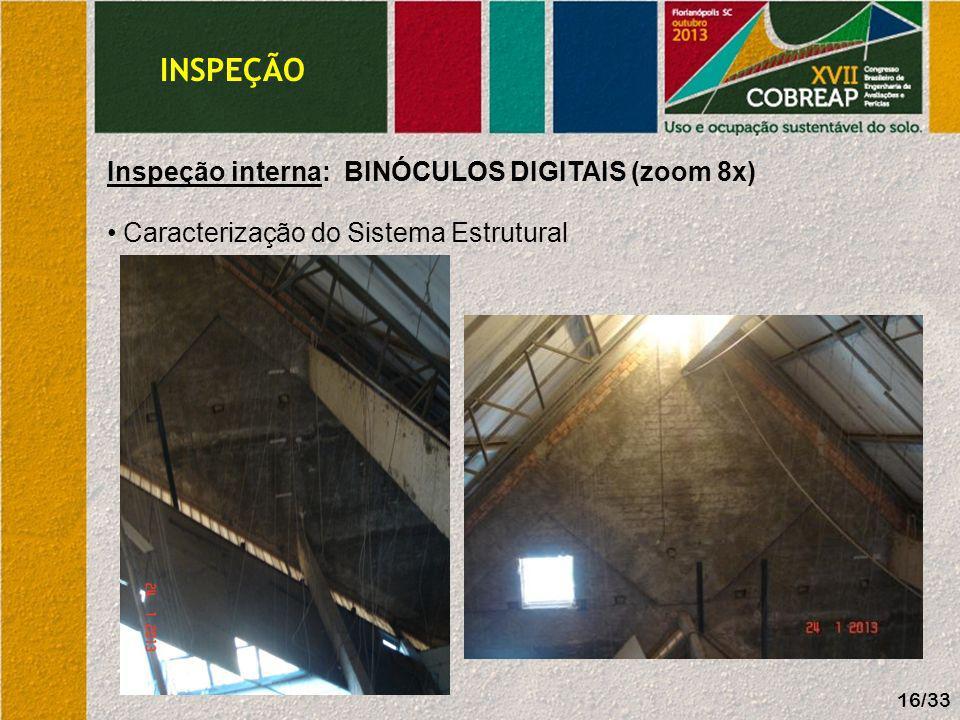 INSPEÇÃO Inspeção interna: BINÓCULOS DIGITAIS (zoom 8x) Caracterização do Sistema Estrutural 16/33