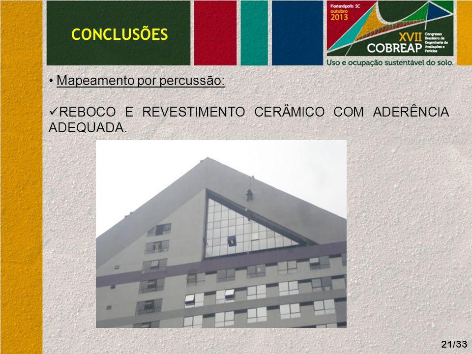 CONCLUSÕES Elementos estruturais: AUSÊNCIA DE FISSURAS OU DESAPRUMOS/ DEFORMAÇÕES 22/33