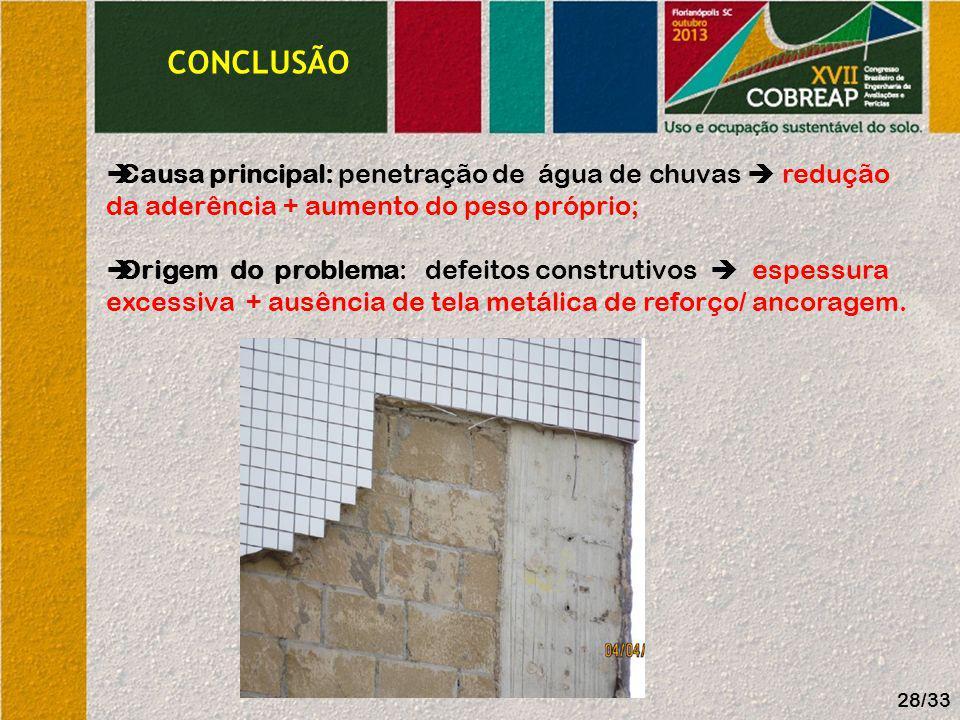 CONCLUSÃO Causa principal: penetração de água de chuvas redução da aderência + aumento do peso próprio; Origem do problema: defeitos construtivos espe
