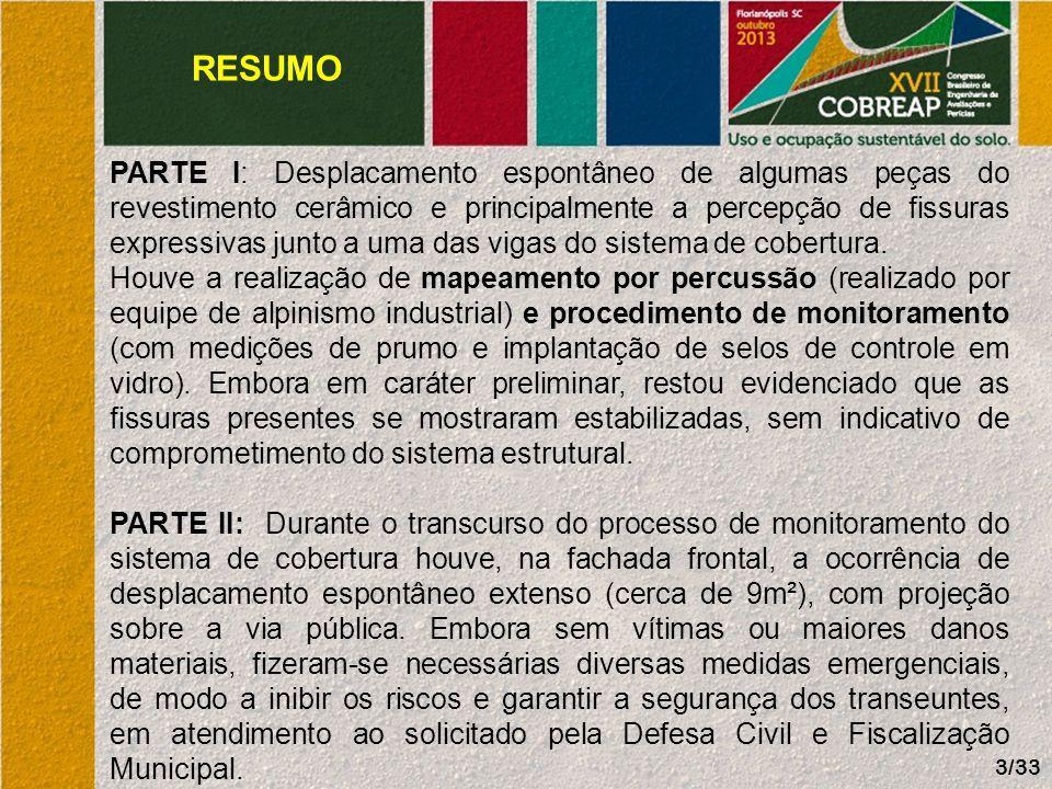 RESUMO EDIFÍCIO COMERCIAL: 22 pavimentos; Ocupado há mais de 20 anos; Sistema construtivo: estrutura de concreto e alvenarias em blocos SICAL; Localizado na região central da cidade de Joinville-SC; DOCUMENTAÇÃO TÉCNICA: não disponível; MODALIDADE DESTE TRABALHO: Perícia extrajudicial; OBJETIVO PRINCIPAL: fornecer orientação técnica ao Condomínio.