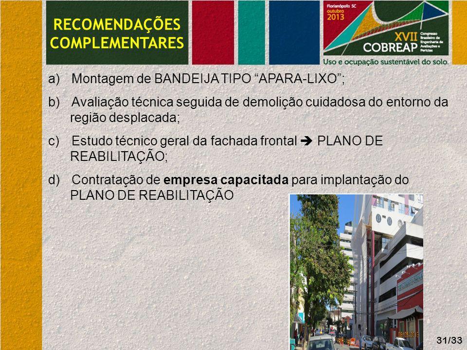 RECOMENDAÇÕES COMPLEMENTARES a)Montagem de BANDEIJA TIPO APARA-LIXO; b)Avaliação técnica seguida de demolição cuidadosa do entorno da região desplacad