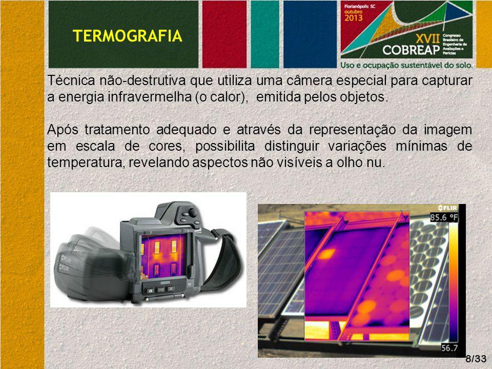 TERMOGRAFIA Utilização consagrada na Europa e EUA; Principais aplicações:.a) Inspeção preventiva de instalações elétricas;.b) Inspeção de sistemas de climatização e isolamento térmico;.c) Identificação de infiltrações.