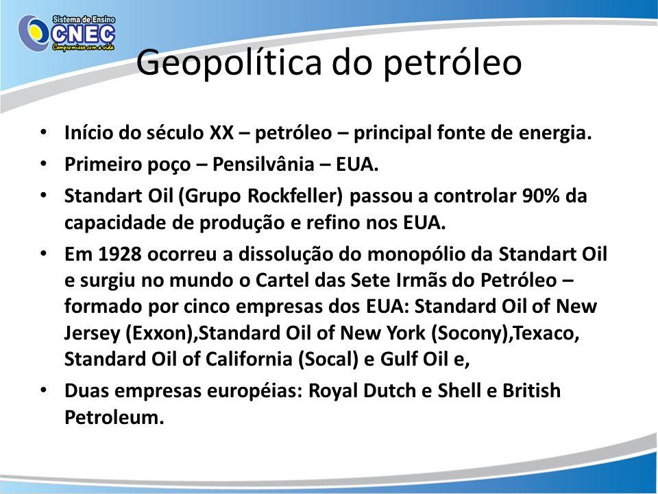 Geopolítica do petróleo Início do século XX – petróleo – principal fonte de energia. Primeiro poço – Pensilvânia – EUA. Standart Oil (Grupo Rockfeller