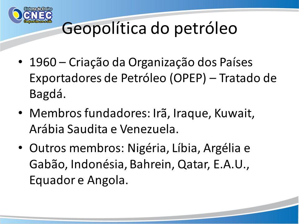 Geopolítica do petróleo 1960 – Criação da Organização dos Países Exportadores de Petróleo (OPEP) – Tratado de Bagdá. Membros fundadores: Irã, Iraque,