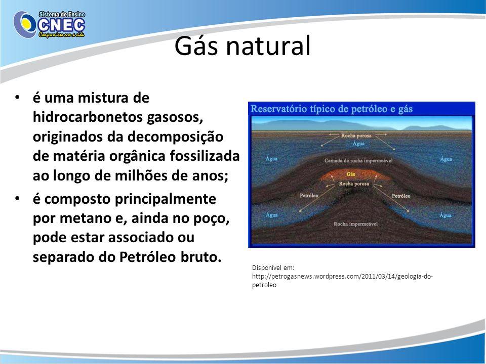 Gás natural é uma mistura de hidrocarbonetos gasosos, originados da decomposição de matéria orgânica fossilizada ao longo de milhões de anos; é compos