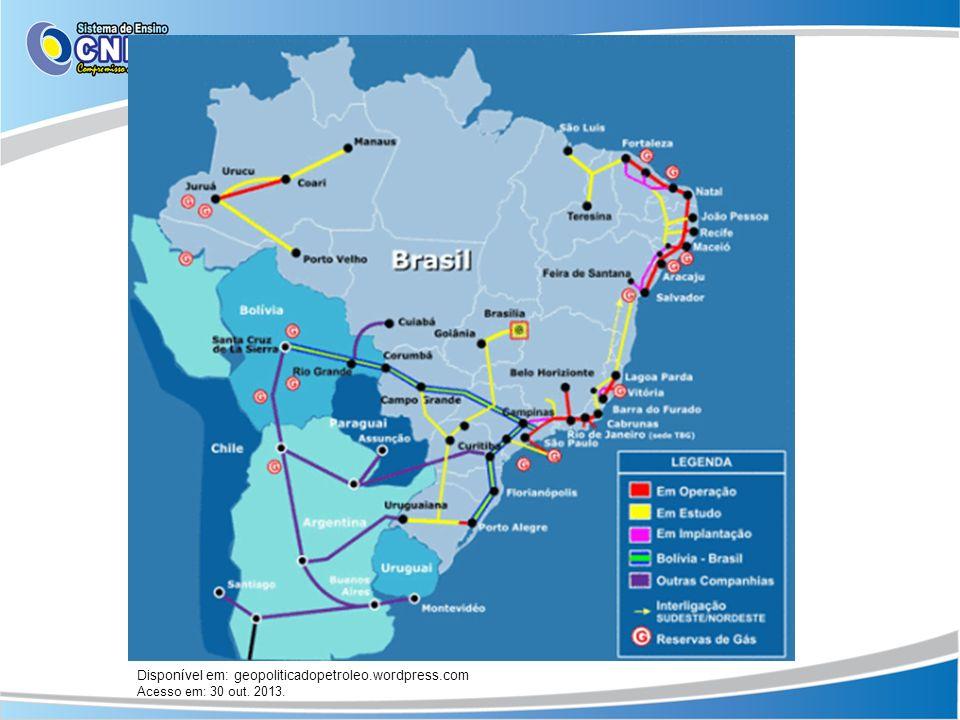 Disponível em: geopoliticadopetroleo.wordpress.com Acesso em: 30 out. 2013.