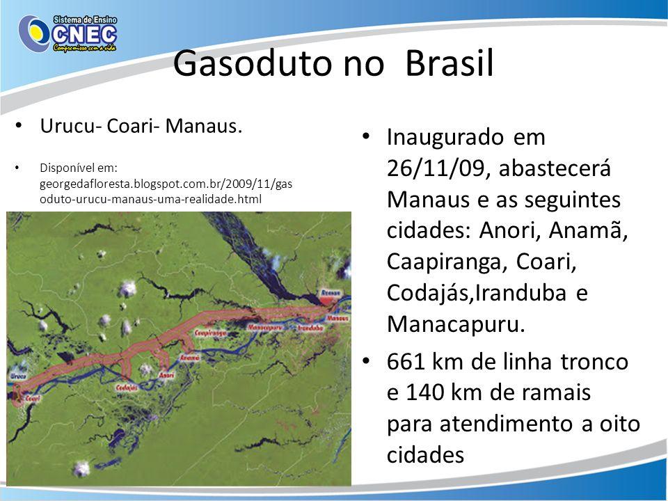 Gasoduto no Brasil Urucu- Coari- Manaus. Disponível em: georgedafloresta.blogspot.com.br/2009/11/gas oduto-urucu-manaus-uma-realidade.html Inaugurado