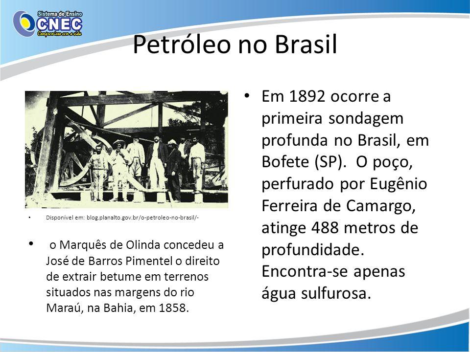 Petróleo no Brasil Disponível em: blog.planalto.gov.br/o-petroleo-no-brasil/- o Marquês de Olinda concedeu a José de Barros Pimentel o direito de extr