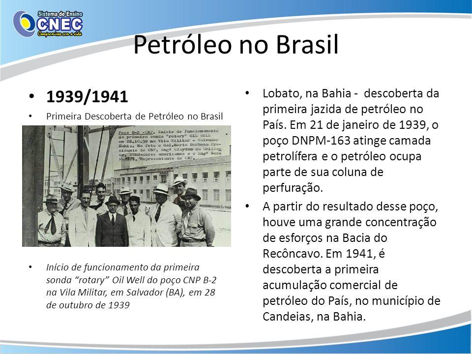 Petróleo no Brasil 1939/1941 Primeira Descoberta de Petróleo no Brasil Início de funcionamento da primeira sonda rotary Oil Well do poço CNP B-2 na Vi
