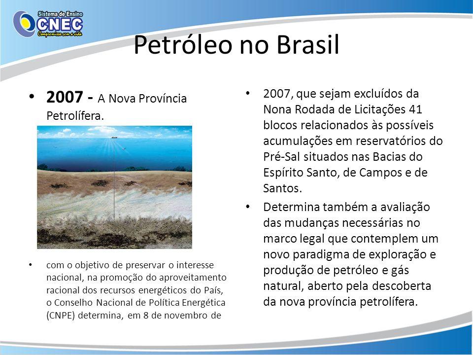 Petróleo no Brasil 2007 - A Nova Província Petrolífera. com o objetivo de preservar o interesse nacional, na promoção do aproveitamento racional dos r
