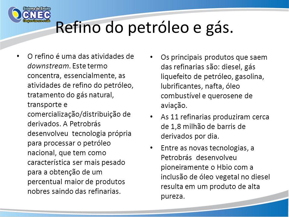 Refino do petróleo e gás. O refino é uma das atividades de downstream. Este termo concentra, essencialmente, as atividades de refino do petróleo, trat