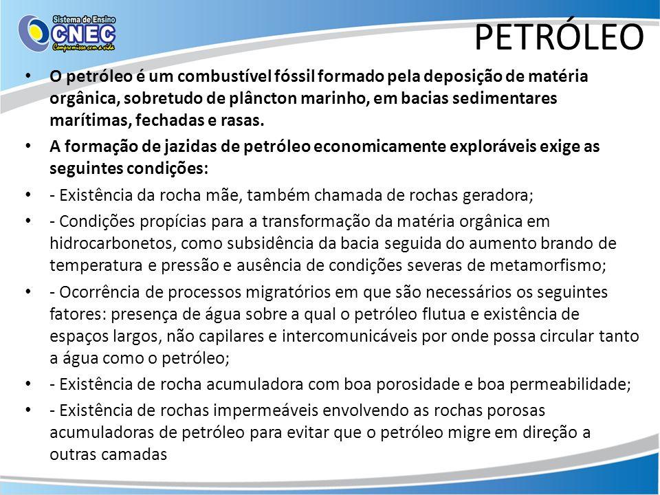 PETRÓLEO O petróleo é um combustível fóssil formado pela deposição de matéria orgânica, sobretudo de plâncton marinho, em bacias sedimentares marítima