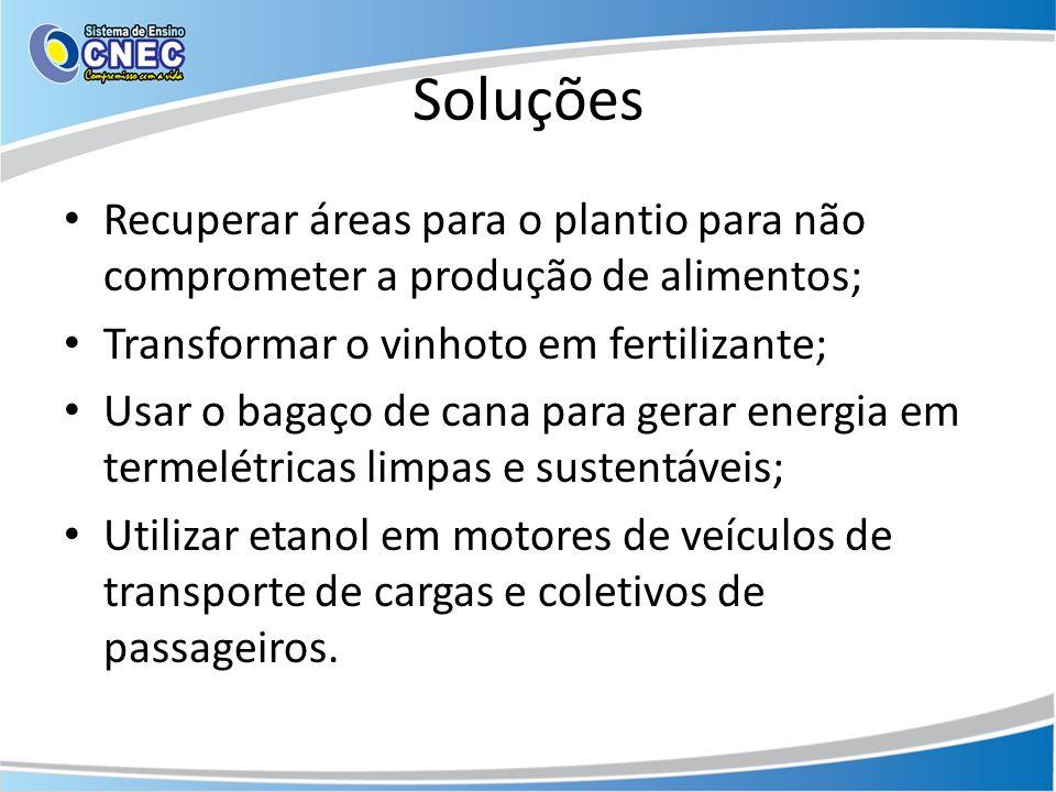 Soluções Recuperar áreas para o plantio para não comprometer a produção de alimentos; Transformar o vinhoto em fertilizante; Usar o bagaço de cana par