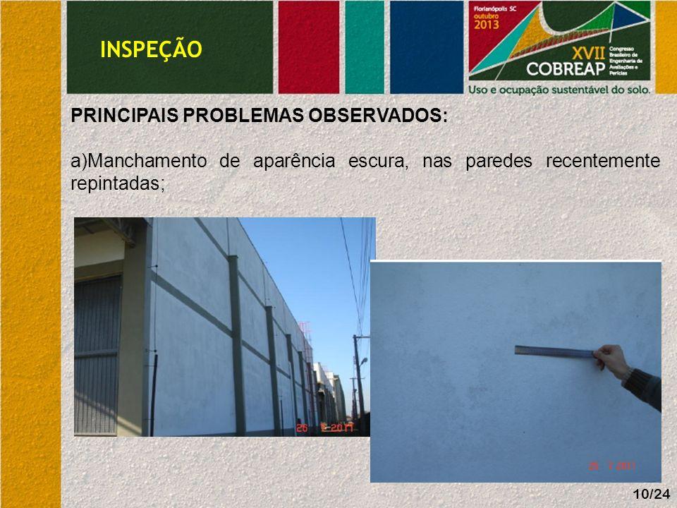 INSPEÇÃO 10/24 PRINCIPAIS PROBLEMAS OBSERVADOS: a)Manchamento de aparência escura, nas paredes recentemente repintadas;