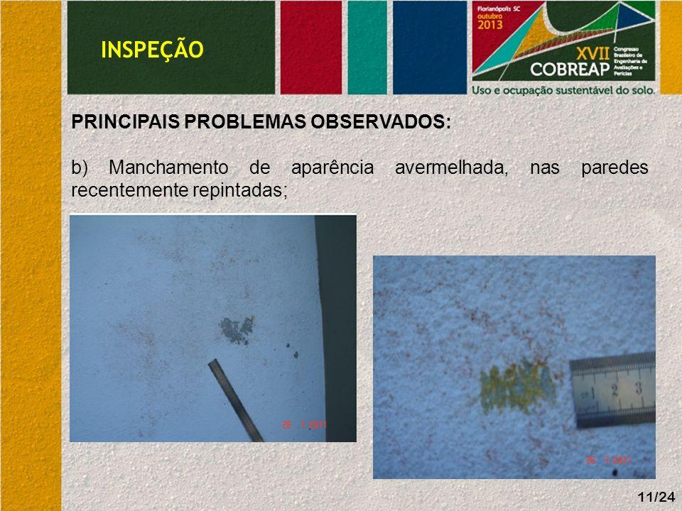 11/24 PRINCIPAIS PROBLEMAS OBSERVADOS: b) Manchamento de aparência avermelhada, nas paredes recentemente repintadas; INSPEÇÃO