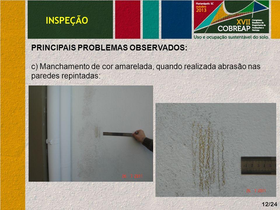 12/24 PRINCIPAIS PROBLEMAS OBSERVADOS: c) Manchamento de cor amarelada, quando realizada abrasão nas paredes repintadas: