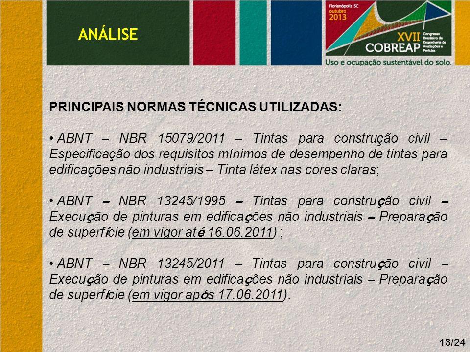 ANÁLISE 13/24 PRINCIPAIS NORMAS TÉCNICAS UTILIZADAS: ABNT – NBR 15079/2011 – Tintas para construção civil – Especificação dos requisitos mínimos de de