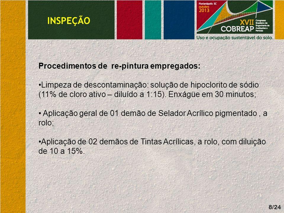 INSPEÇÃO 8/24 Procedimentos de re-pintura empregados: Limpeza de descontaminação: solução de hipoclorito de sódio (11% de cloro ativo – diluído a 1:15