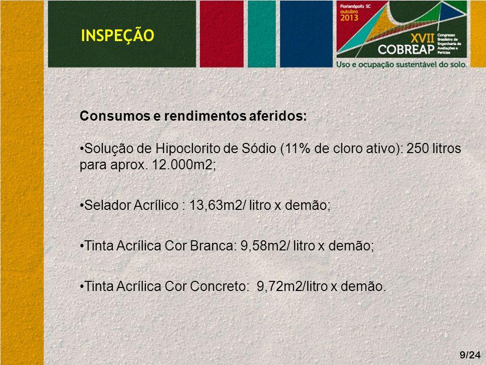 INSPEÇÃO 9/24 Consumos e rendimentos aferidos: Solução de Hipoclorito de Sódio (11% de cloro ativo): 250 litros para aprox. 12.000m2; Selador Acrílico