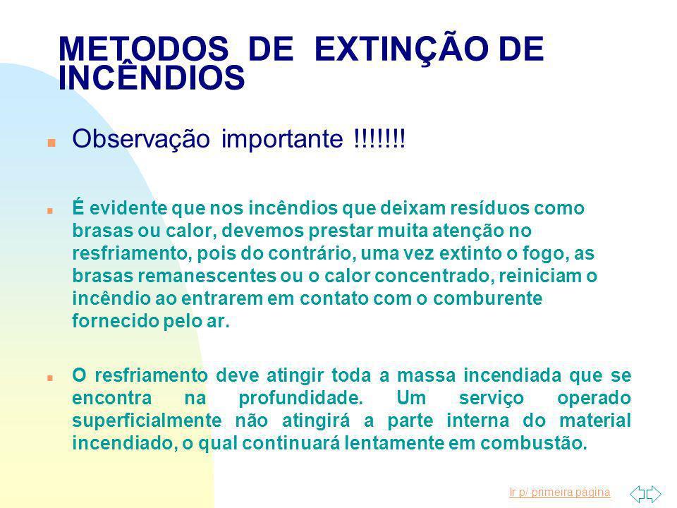 Ir p/ primeira página METODOS DE EXTINÇÃO DE INCÊNDIOS Resfriamento n É o método pelo qual, através de agentes extintores próprios, se faz a absorção