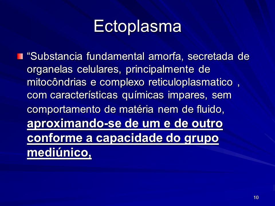 10 Ectoplasma Substancia fundamental amorfa, secretada de organelas celulares, principalmente de mitocôndrias e complexo reticuloplasmatico, com carac