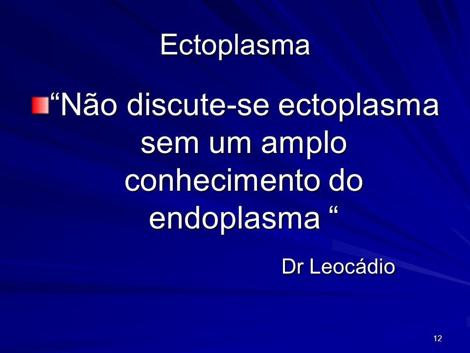 12 Ectoplasma Não discute-se ectoplasma sem um amplo conhecimento do endoplasma Não discute-se ectoplasma sem um amplo conhecimento do endoplasma Dr L