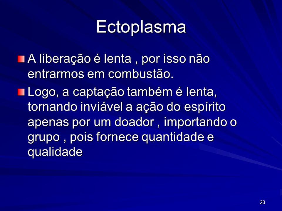 23 Ectoplasma A liberação é lenta, por isso não entrarmos em combustão. Logo, a captação também é lenta, tornando inviável a ação do espírito apenas p