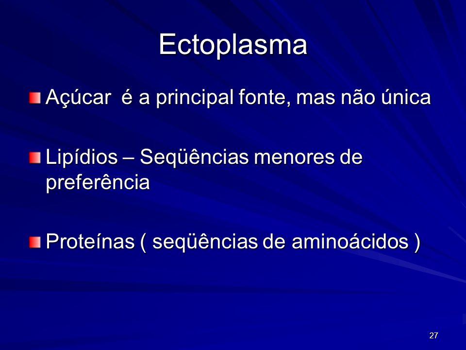 27 Ectoplasma Açúcar é a principal fonte, mas não única Lipídios – Seqüências menores de preferência Proteínas ( seqüências de aminoácidos )