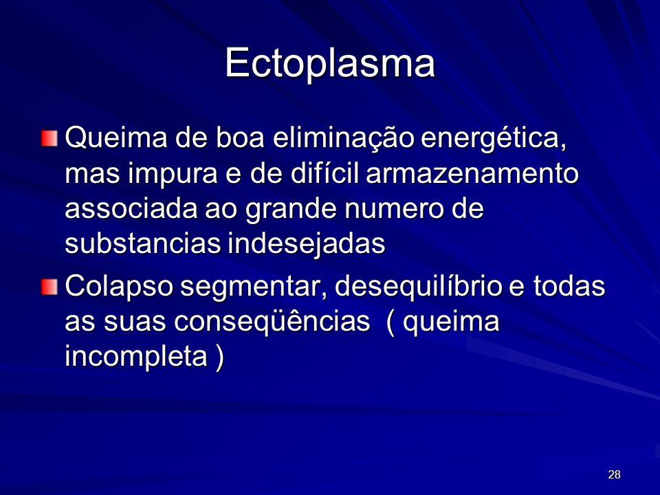 28 Ectoplasma Queima de boa eliminação energética, mas impura e de difícil armazenamento associada ao grande numero de substancias indesejadas Colapso