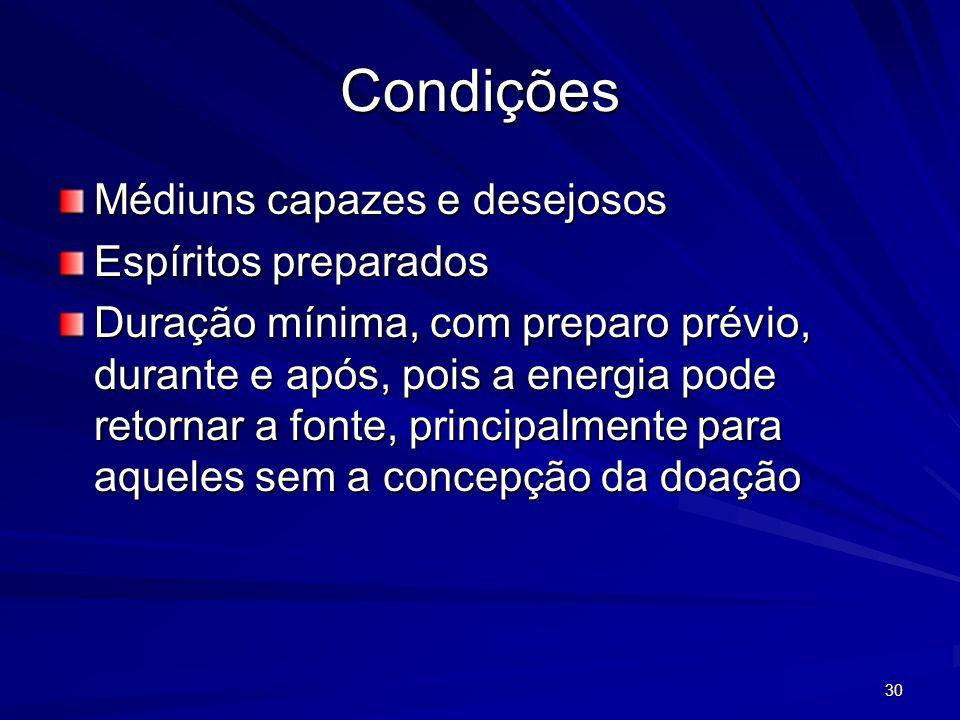30 Condições Médiuns capazes e desejosos Espíritos preparados Duração mínima, com preparo prévio, durante e após, pois a energia pode retornar a fonte