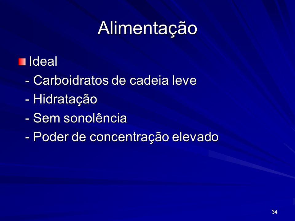 34 Alimentação Ideal - Carboidratos de cadeia leve - Carboidratos de cadeia leve - Hidratação - Hidratação - Sem sonolência - Sem sonolência - Poder d