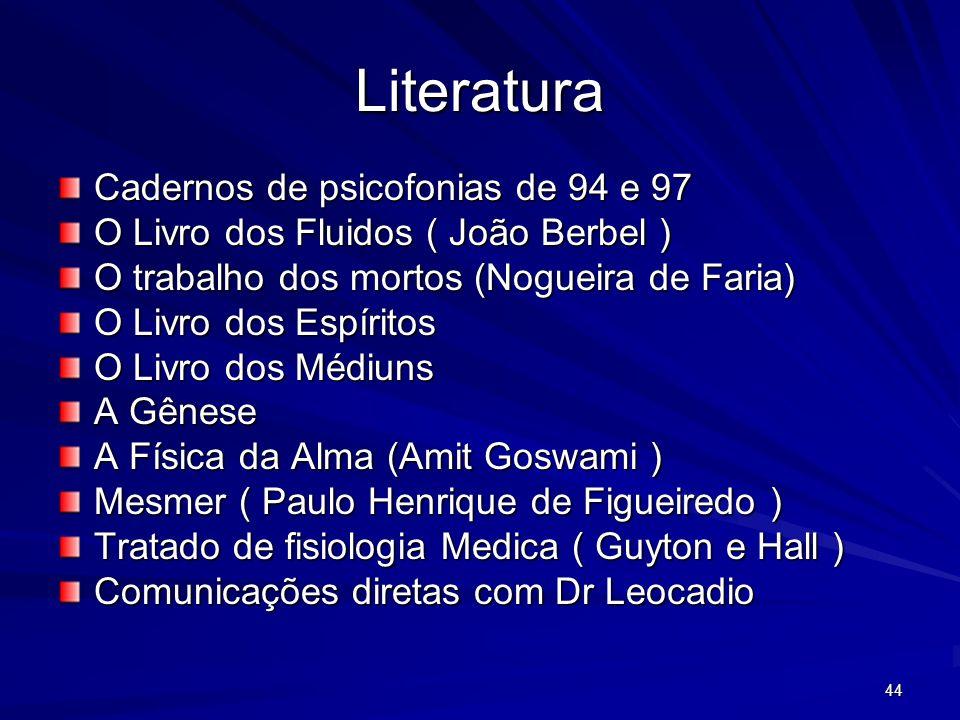 44 Literatura Cadernos de psicofonias de 94 e 97 O Livro dos Fluidos ( João Berbel ) O trabalho dos mortos (Nogueira de Faria) O Livro dos Espíritos O