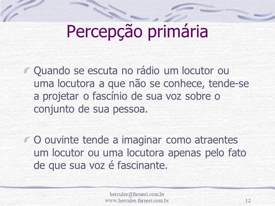 hercules@farnesi.com.br www.hercules.farnesi.com.br12 Percepção primária Quando se escuta no rádio um locutor ou uma locutora a que não se conhece, te