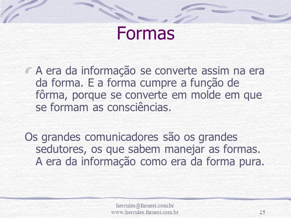 hercules@farnesi.com.br www.hercules.farnesi.com.br25 Formas A era da informação se converte assim na era da forma. E a forma cumpre a função de fôrma