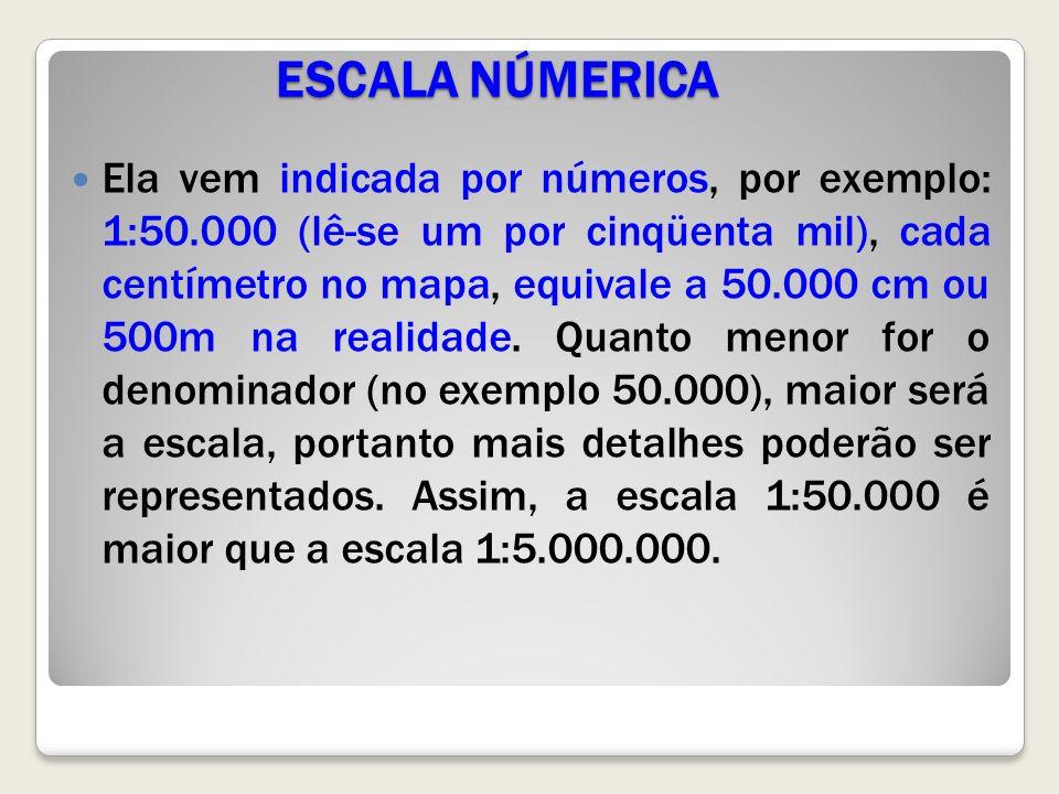ESCALA NÚMERICA Ela vem indicada por números, por exemplo: 1:50.000 (lê-se um por cinqüenta mil), cada centímetro no mapa, equivale a 50.000 cm ou 500m na realidade.