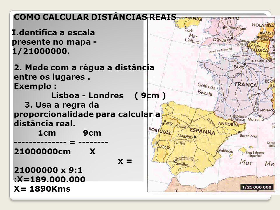 COMO CALCULAR DISTÂNCIAS REAIS I.dentifica a escala presente no mapa - 1/21000000.