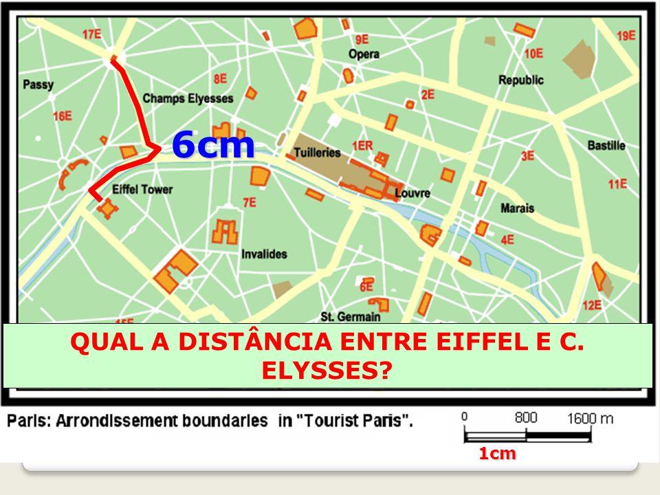 QUAL A DISTÂNCIA ENTRE EIFFEL E C. ELYSSES? 6cm 1cm