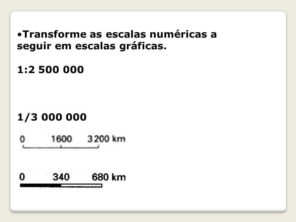 Transforme as escalas numéricas a seguir em escalas gráficas. 1:2 500 000 1/3 000 000